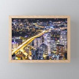 Voyeuristic 1428 Vancouver Cityscape Golden Bridge Framed Mini Art Print
