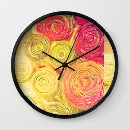 Red Gold and Green -- Ranunculus Flowers Still Life Painterly Wall Clock