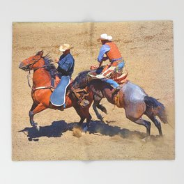 The Saddle Bronc and the Pickup Man - Rodeo Art Throw Blanket