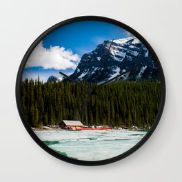 Canoeing in the Mountains Wall Clock
