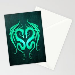Teal Blue Twin Tribal Dragons Stationery Cards