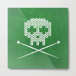 Knitted Skull - White on Deep Green Metal Print