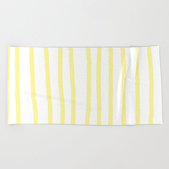 Simply Drawn Vertical Stripes in Pastel Yellow Beach Towel