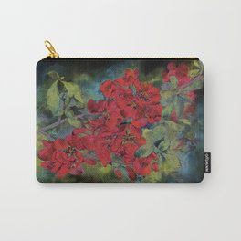 The flowering quince . Black background Carry-All Pouch