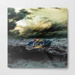 Abandoned Ship on the water portrait Metal Print