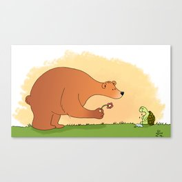 The bear and the sad turtle Canvas Print