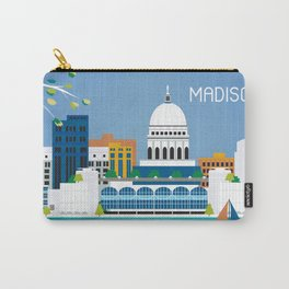 Madison, Wisconsin - Skyline Illustration by Loose Petals Carry-All Pouch