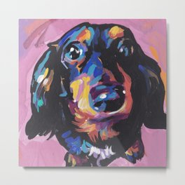 Dachshund Dog bright colorful Doxie Portrait Pop Art Painting by LEA Metal Print