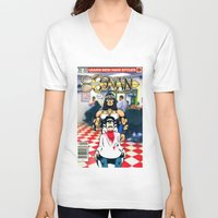 conan V-neck T-shirts featuring CONAN THE BARBERER by i live