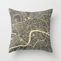 london Throw Pillows featuring London by Map Map Maps