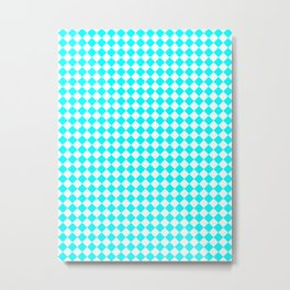 Small Diamonds - White and Aqua Cyan Metal Print