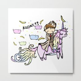 Allons-y Unicorns Metal Print