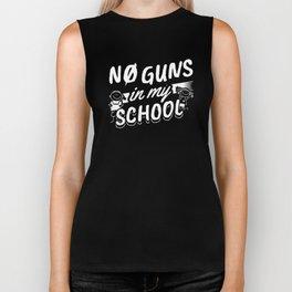 No Guns In My School Anti Gun Anti War Children Fear Design Biker Tank