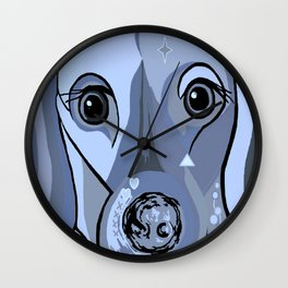 Dachshund in Blue Wall Clock