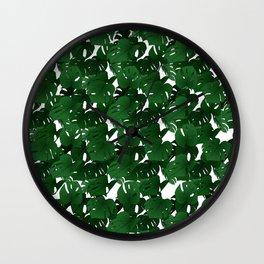 Monstera (Jungle) - Emerald x White Wall Clock