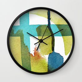 Blue and Yellow and Green Abstract Art Wall Clock