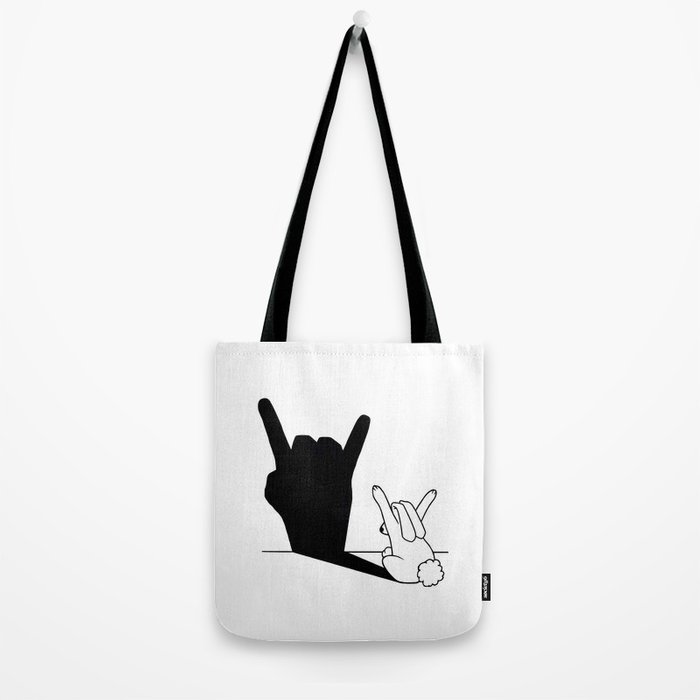 Rabbit Rock and Roll Hand Shadow Tote Bag