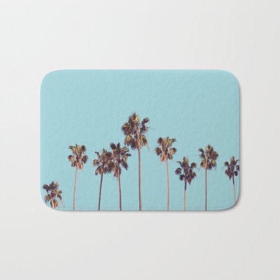 palm trees turquoise Bath Mat
