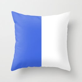 White and Royal Blue Vertical Halves Throw Pillow