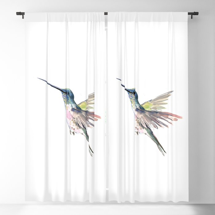 Flying Little Hummingbird Blackout Curtain