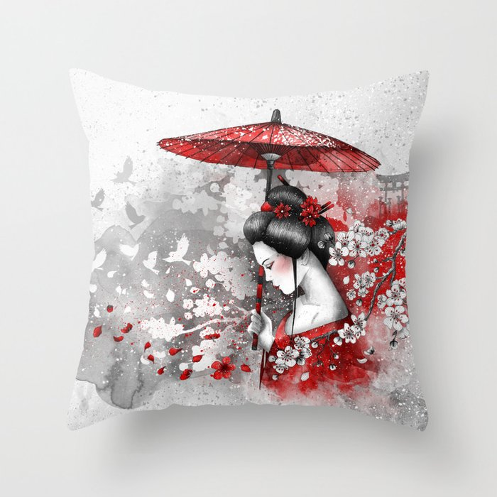 Falling blossoms Throw Pillow