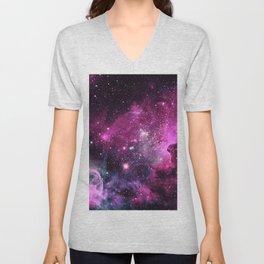 Magenta Teal Purple Carina Nebula Unisex V-Neck