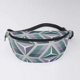 Modern Geometric Green & Gray 3d illusion pattern Fanny Pack