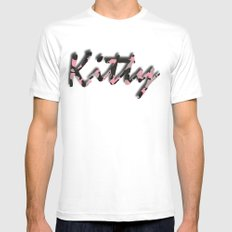 Pink Kitty Camo Mens Fitted Tee White MEDIUM