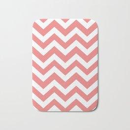 Light coral - pink color -  Zigzag Chevron Pattern Bath Mat