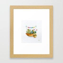Cactus Buntings Framed Art Print