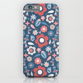 Large Flower Print Modern Farmhouse Pattern in Faded Navy Blue Red Gray iPhone Case