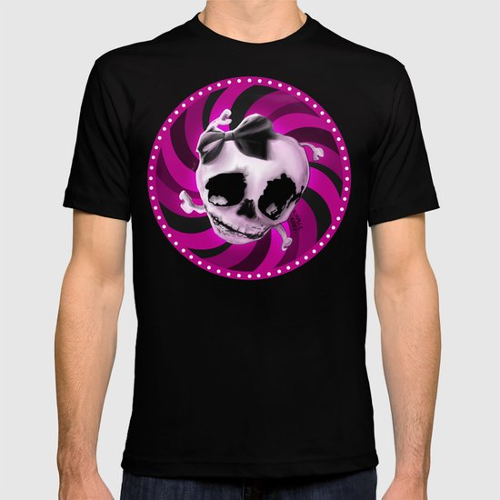 Girly Pink Skull with Black Bow T-shirt