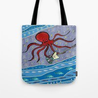 bass Tote Bags featuring squid bass by Huiskat