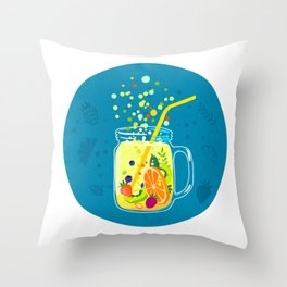 Fruit lemonade in a jar on a blue background Throw Pillow