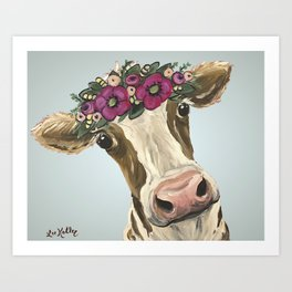 Cow with Flower Crown, Cute Cow Art Art Print