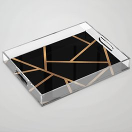 Black and Gold Fragments - Geometric Design Acrylic Tray