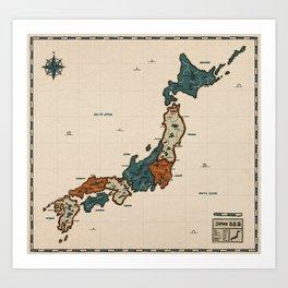 Japan - vintage map Art Print
