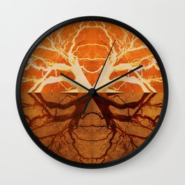 Tree Reflection of Copper Wall Clock