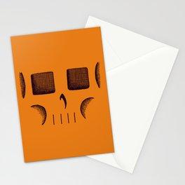 Skull Linework (Black / Orange) Stationery Cards