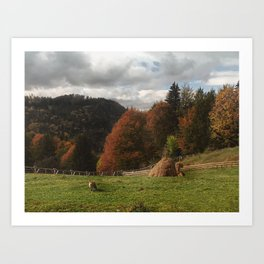 Autumn With Mountain Fox And Haystack Art Print