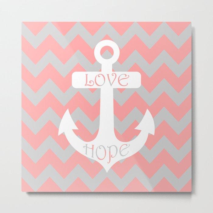 Anchor Chevron Gray Coral Pink Metal Print