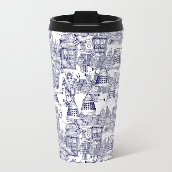 Doctor Who Toile de Jouy   'Walking Doodle'   Blue Metal Travel Mug
