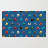 megaman Area & Throw Rugs featuring Cool Colorful Megaman Helmet Pattern by 1986