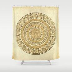 Golden Plate Mandala in 3D Shower Curtain