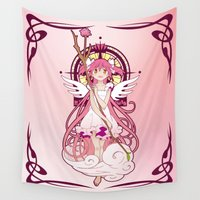 madoka magica Wall Tapestries featuring Madoka Kaname - Nouveau edit. by Yue Graphic Design