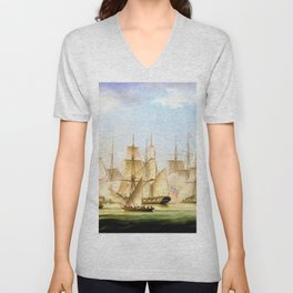 Mahratta Pirates Attacking The Sloop Aurora, Of The Bombay Marine - Thomas Buttersworth Unisex V-Neck
