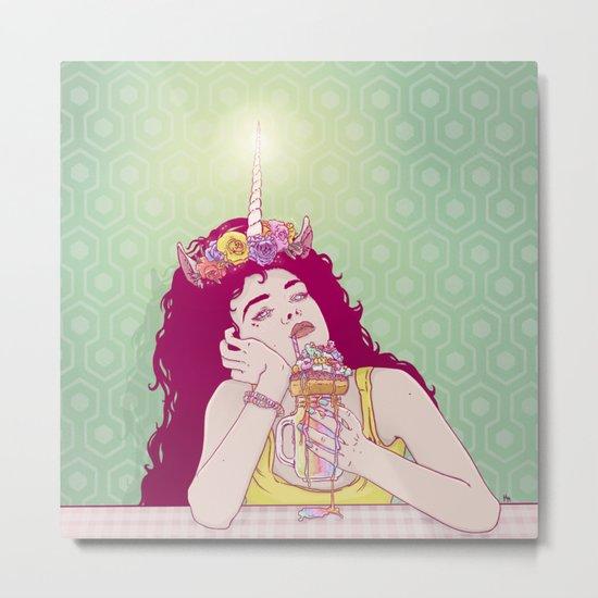 Unicorn Freakshake Lady Metal Print