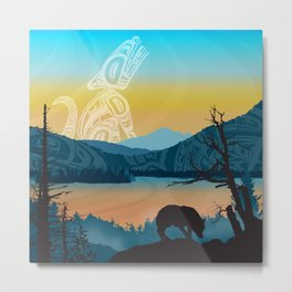 Salish Wolf Sunrise Metal Print