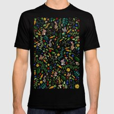 Rabbits In The Garden Mens Fitted Tee Black MEDIUM