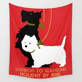 Retro London and Glasgow by train, dogs terriers Wall Tapestry
